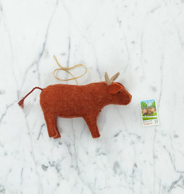 Hand Felted Gentle Bull Ornament
