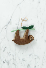 Hand Felted Lazy Days Sloth Ornament