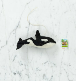Hand Felted Orca Whale Ornament