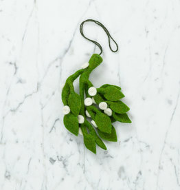 Hand Felted Mistletoe Bundle Ornament - Medium