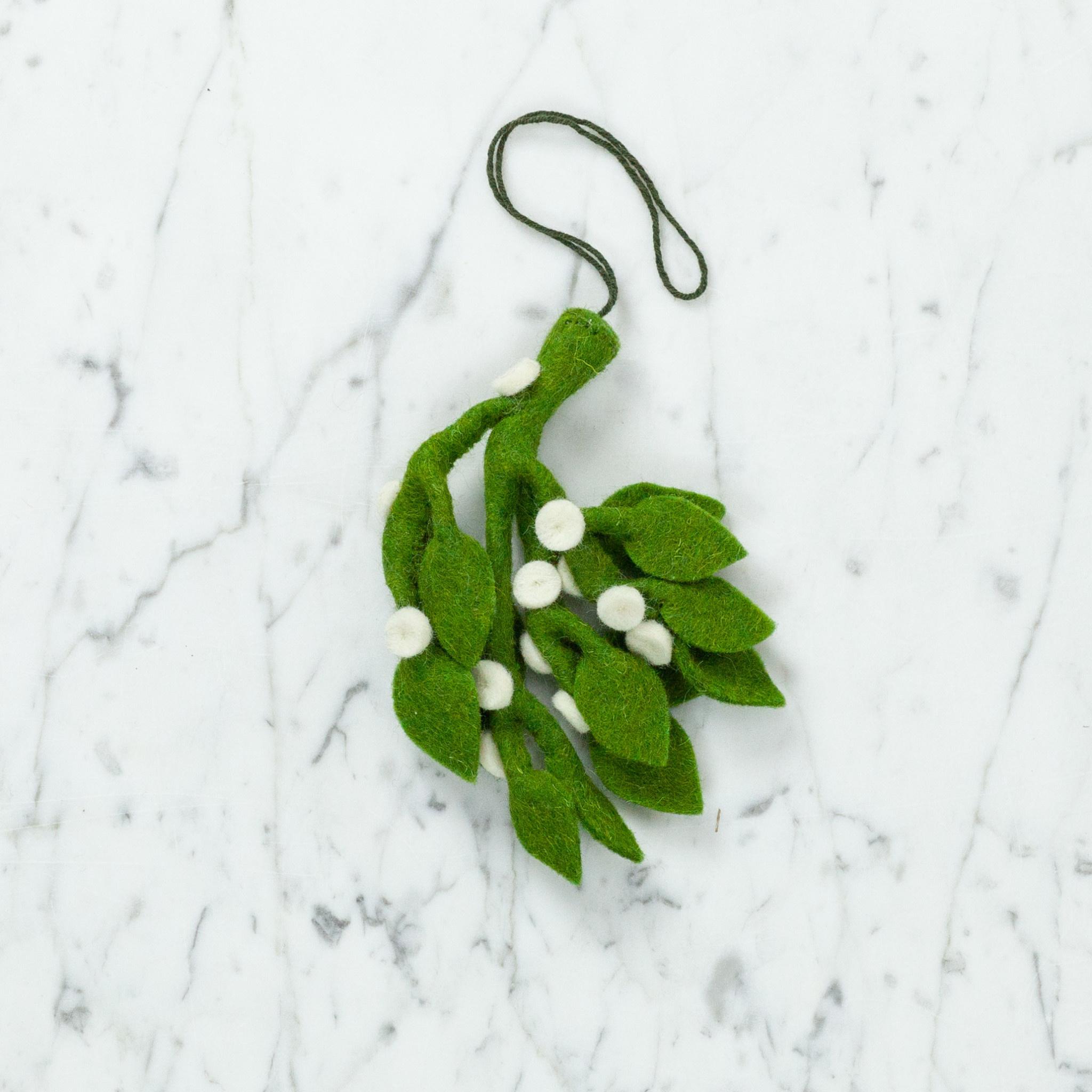 Hand Felted Mistletoe Bundle Ornament - Medium