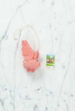Hand Felted Flying Pink Pig Ornament
