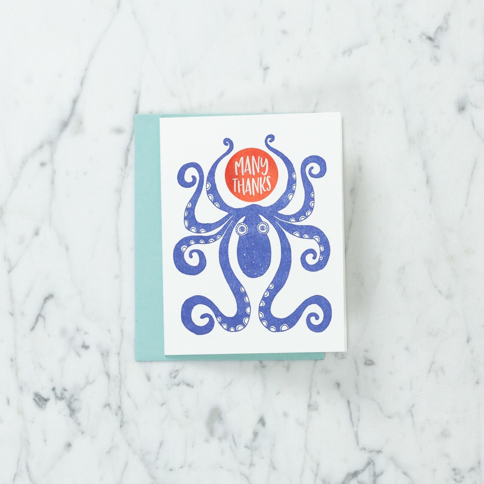 Blackbird Letterpress Letterpress Many Thanks Octopus Card