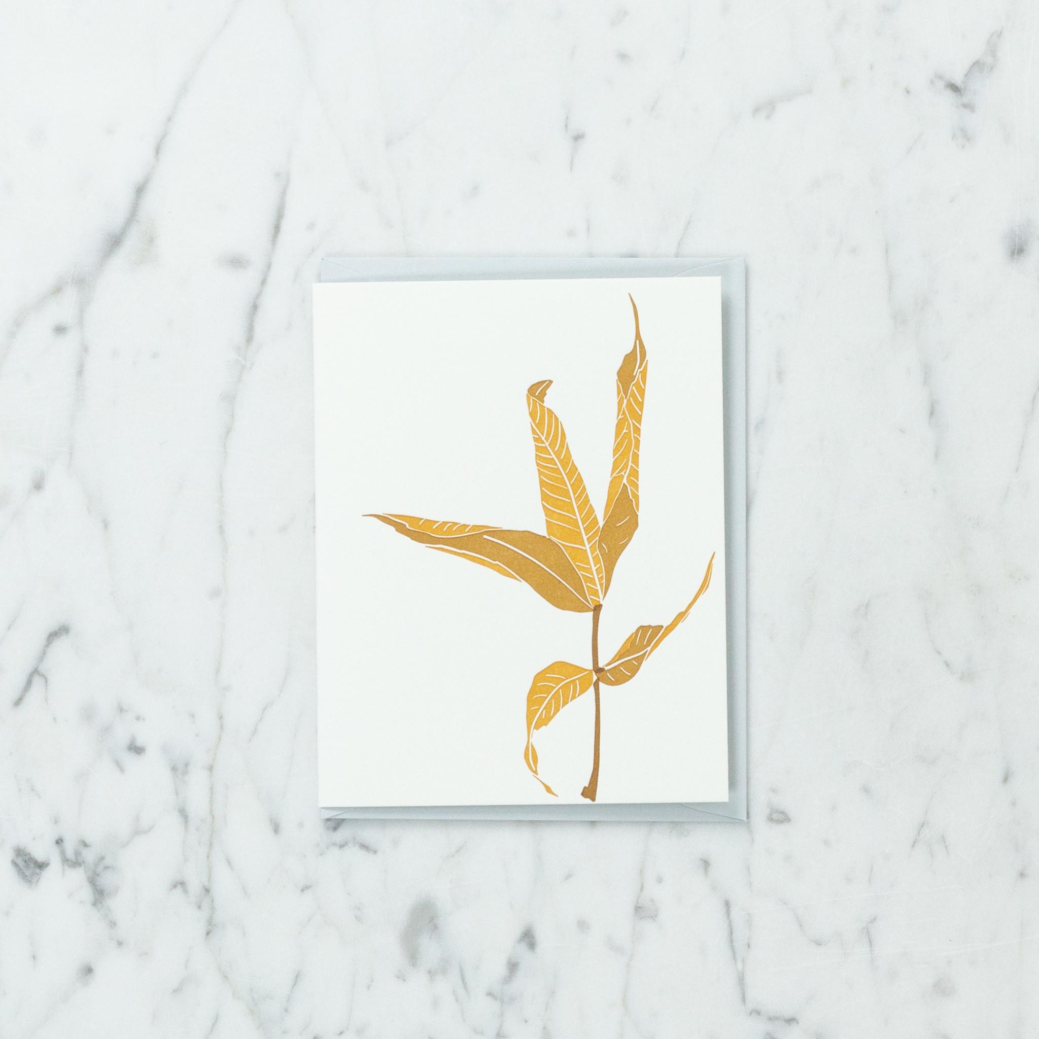 Brown Parcel Press Letterpress Bronze Leaf Card