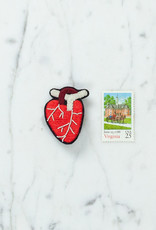 Hand Embroidered Macon & Lesquoy Pin - Anatomical Heart - Red