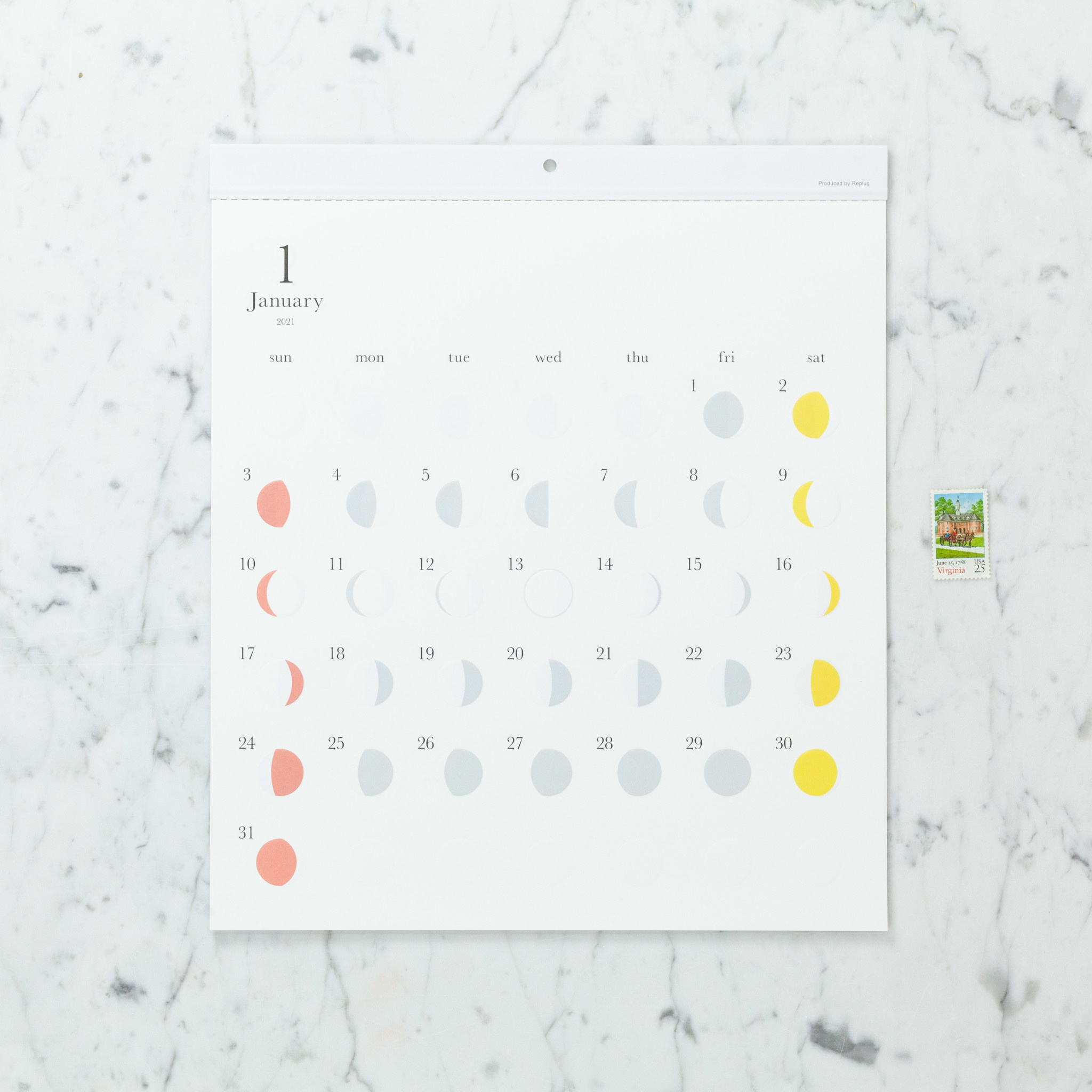 Lunar Moon Cycle Calendar - 2021 - Multi Color