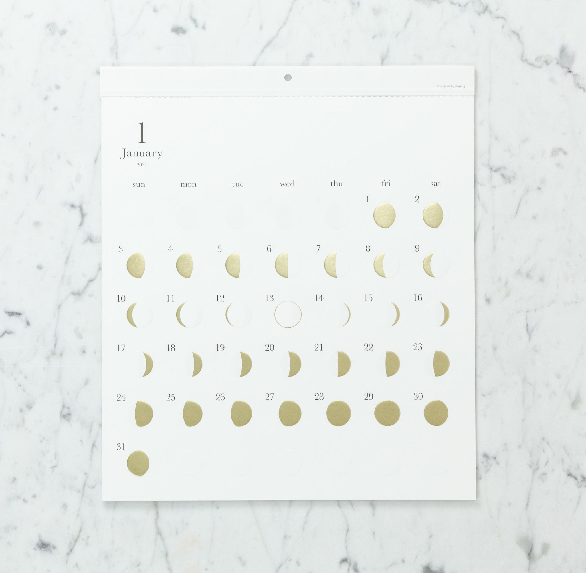 Lunar Moon Cycle Calendar - 2021 - Gold