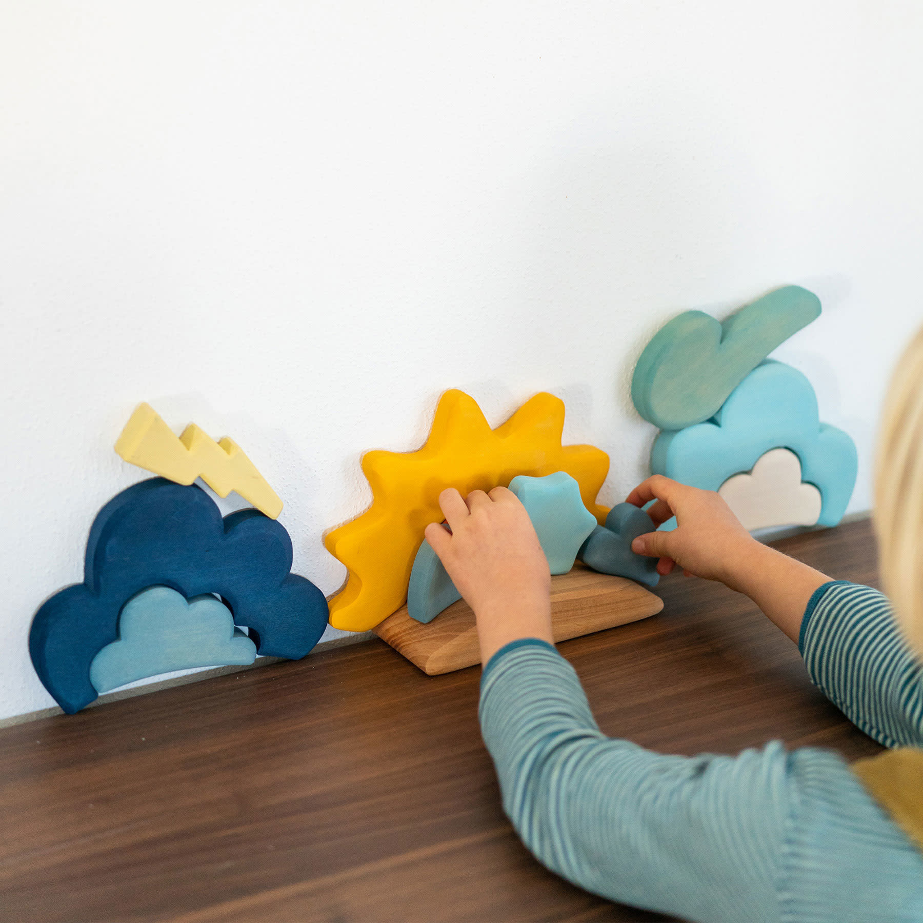 Grimm's Toys Weather Shapes Building Blocks Set