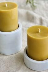 """Danish White Marble Candleholder - Large - 4"""" x 3 1/2"""""""