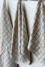 Japanese Grid Check Graph Bath Towel - Earl Grey