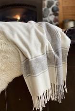 Rustic Wool Blanket - Cream with Wide Grey Stripe
