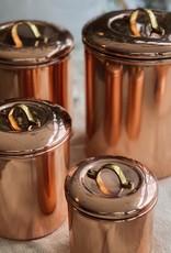 "Copper Storage Canister Brass Handle - Medium - 6.5"""