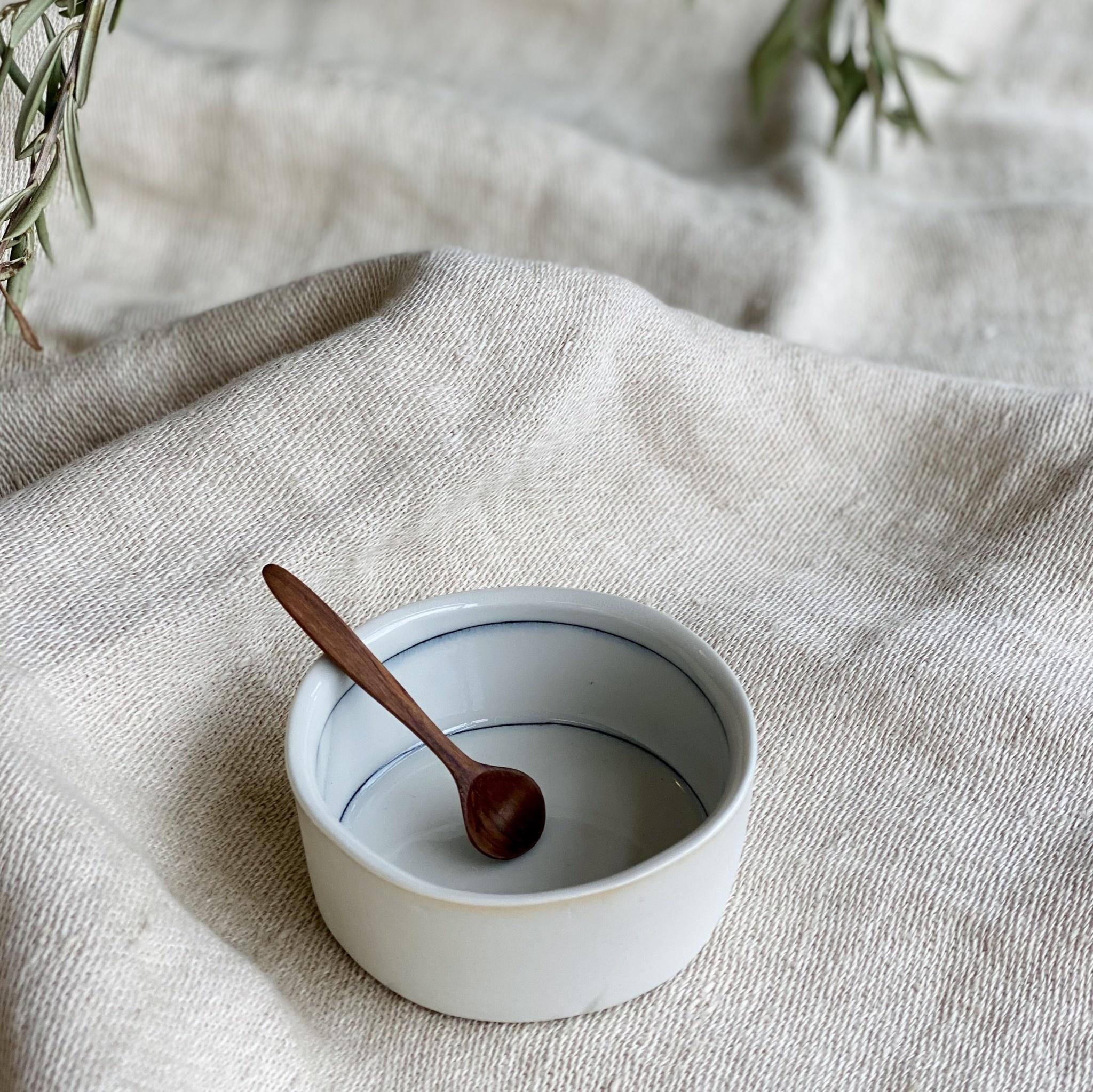 "Nicole Aquillano Nicole Aquillano Porcelain Simple Line Tiny Round Dish - Tall - 3.5"""