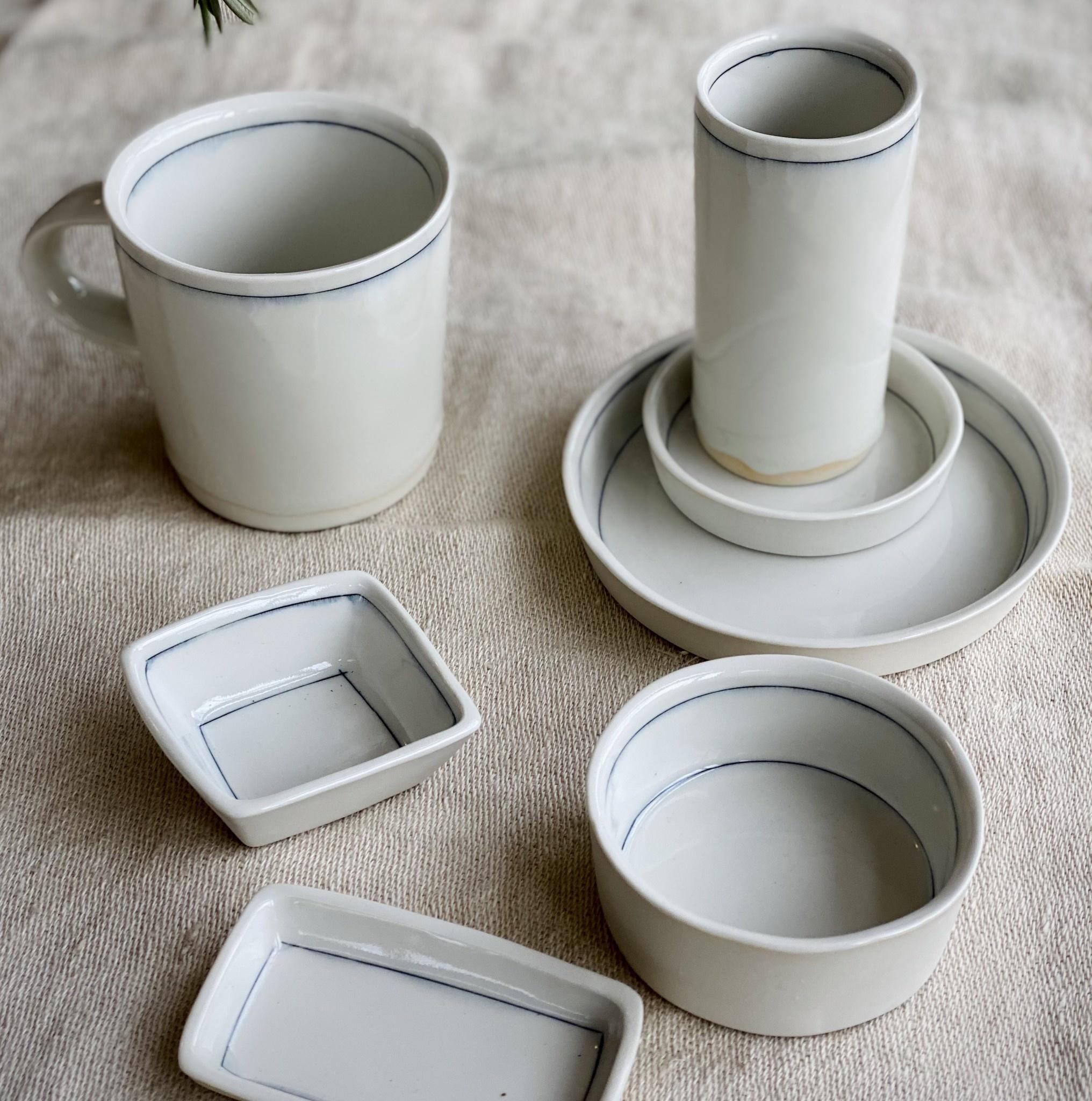 "Nicole Aquillano Nicole Aquillano Porcelain Simple Line Rectangular Trinket Dish - Small - 4 x 2"""