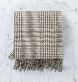 Rustic Wool Blanket - Grey Houndstooth