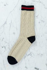 Royalties Paris Socks - Beige Bobby Varsity with Cable Knit