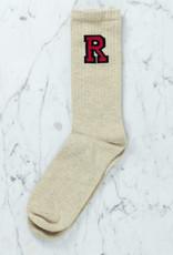 Royalties Paris Socks - Dan Red Letter R - Natural