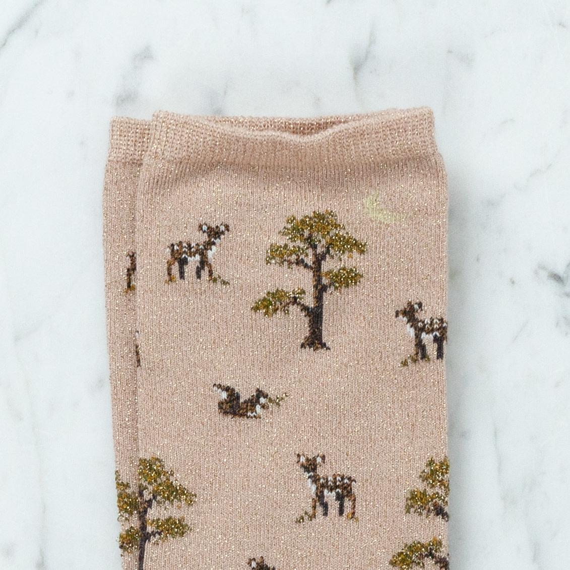 Royalties Paris Socks - Powder Beige Baby Deer