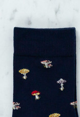 Royalties Paris Socks - Alice Navy Blue Mushrooms