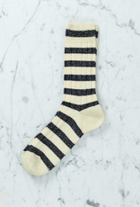 Royalties Paris Socks - Cricket Stripe on Rib - Ivory