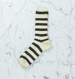 Royalties Paris Socks - Cricket Stripe on Rib - Ivory