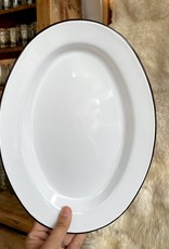 Black + White Enamel Oval Serving Plate - 11.75""