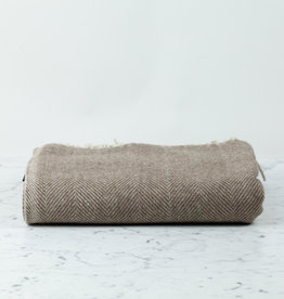 The Tartan Blanket Co Recycled Wool Blanket - Natural Herringbone
