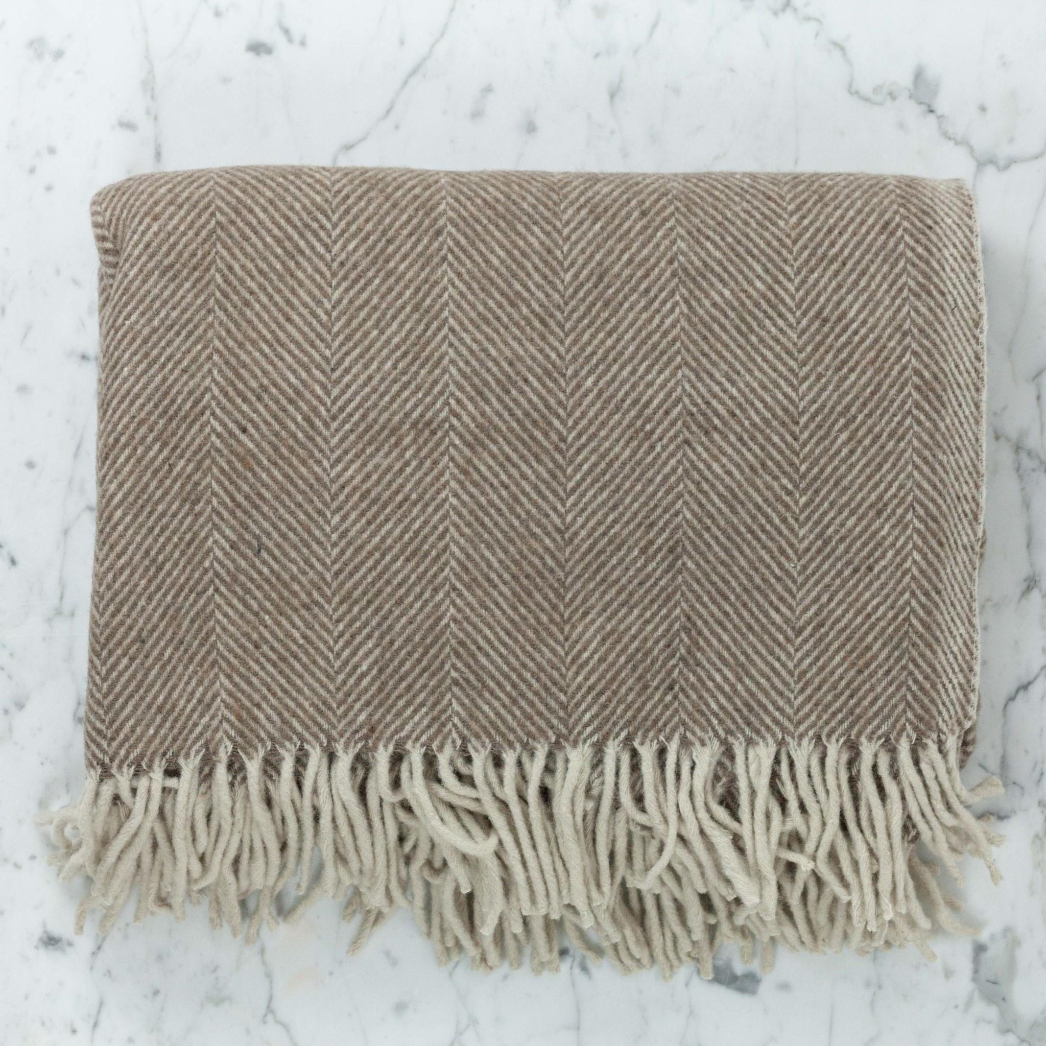 The Tartan Blanket Co Recycled Wool Blanket - Natural Herringbone
