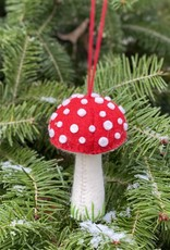 Hand Felted Mushroom Ornament - Red - Tall
