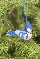 Hand Felted Blue Jay Ornament
