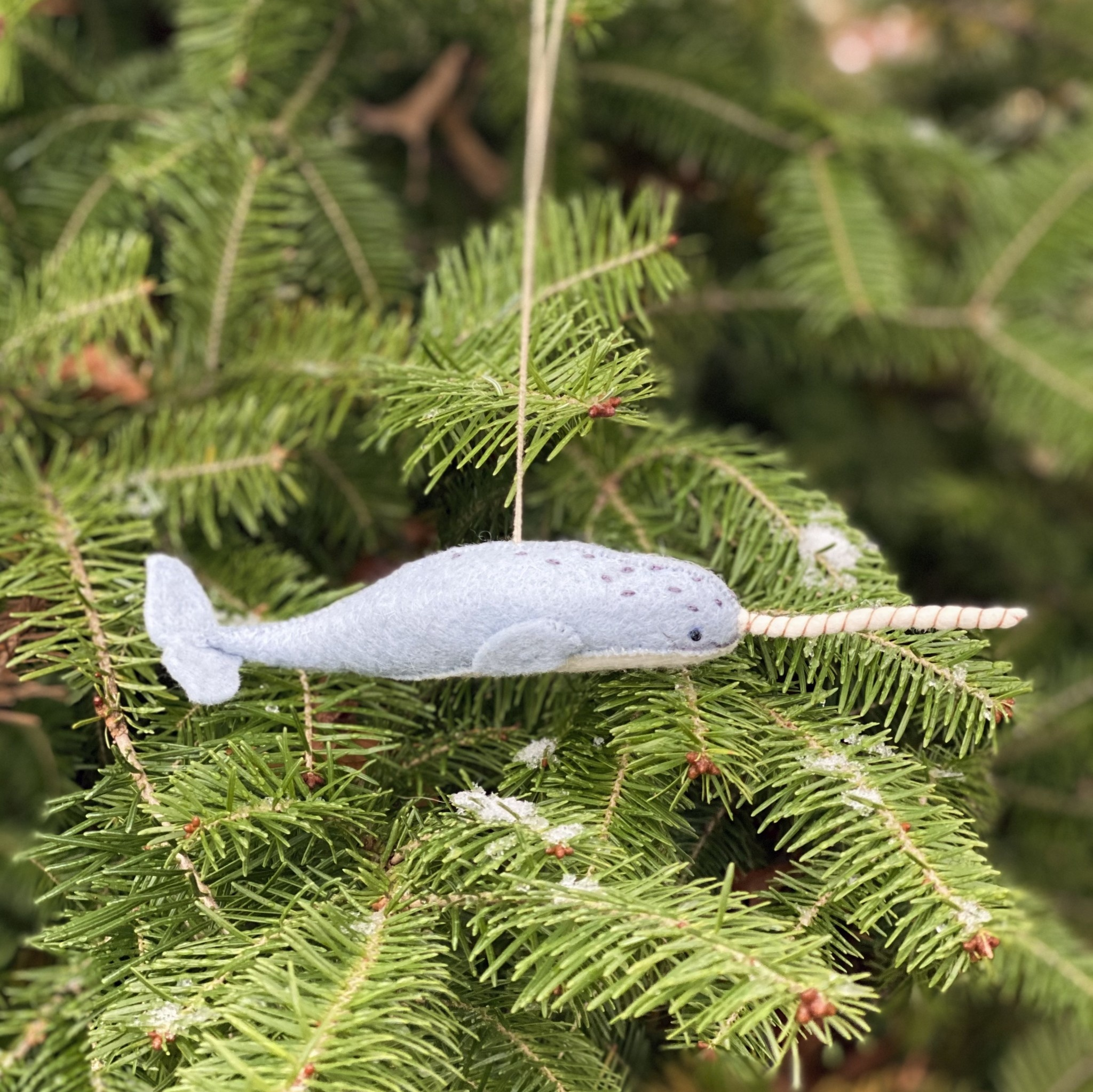 Hand Felted Mystical Narwhal Ornament - Grey