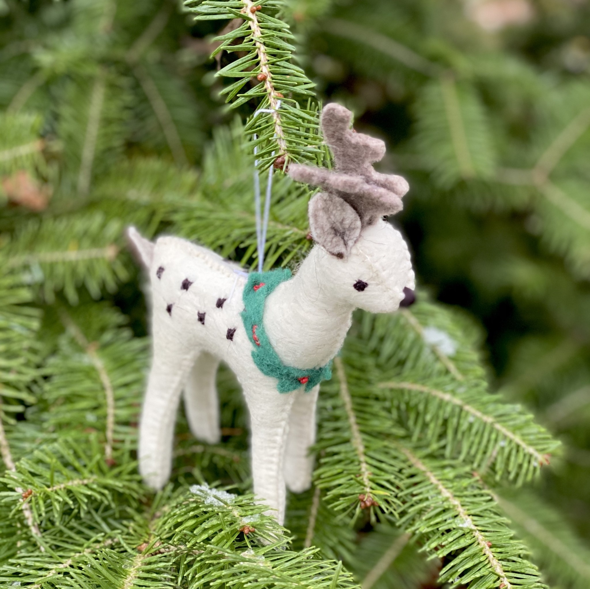 Hand Felted Reindeer with Wreath Ornament - White