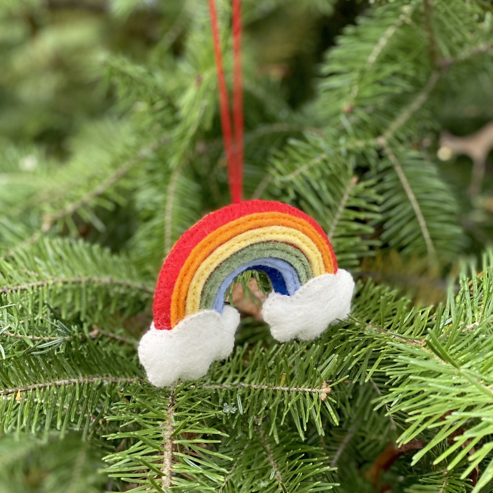 Hand Felted Over the Rainbow Ornament - Small