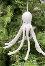 Hand Felted Octopus Ornament - White