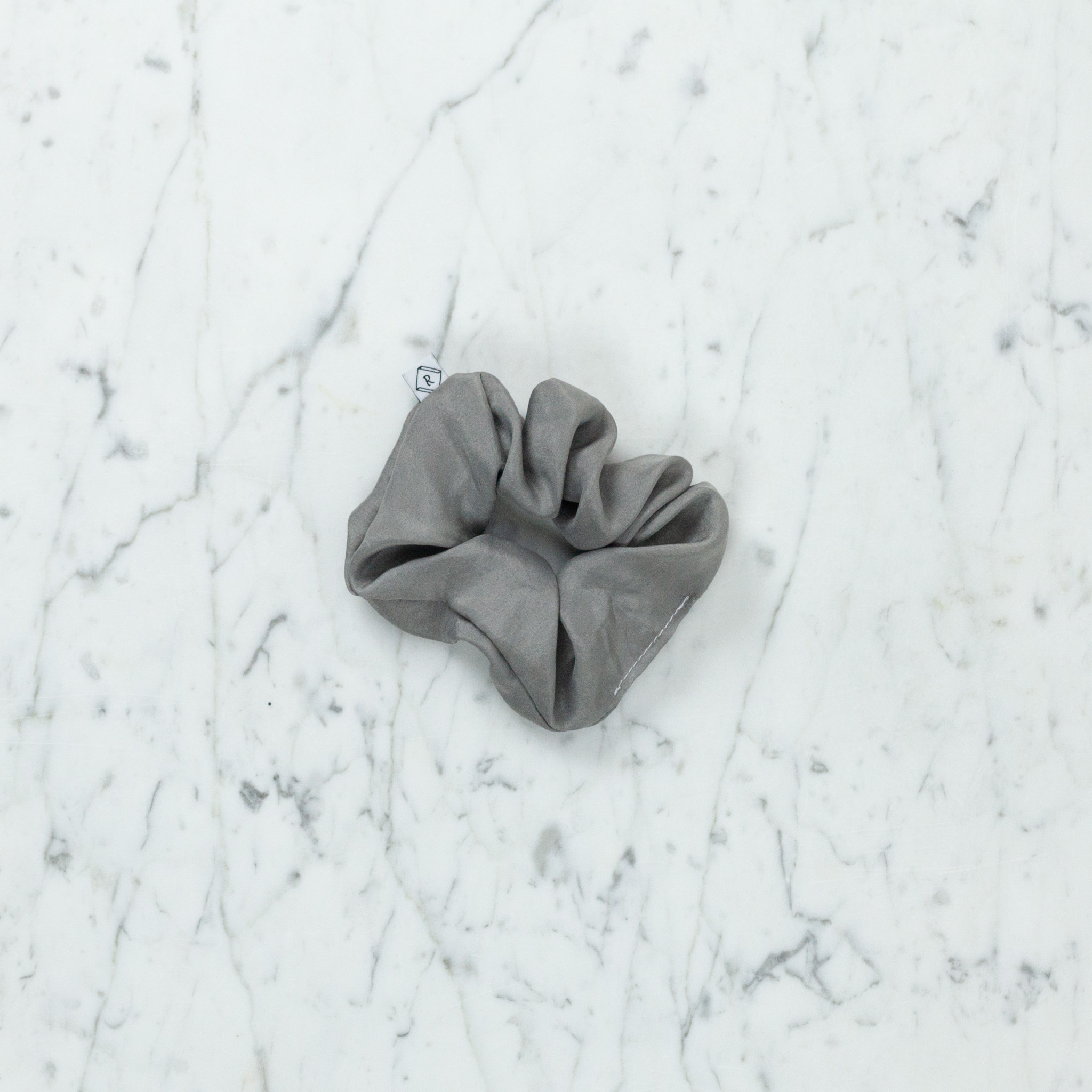 Rosemarine Textiles Plant Dyed Silk Scrunchie - Charcoal