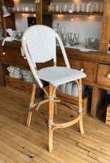 Sika-Design FLOOR SAMPLE Sofie Rattan Bar Stool wIth Back - White with Cappuccino Dots