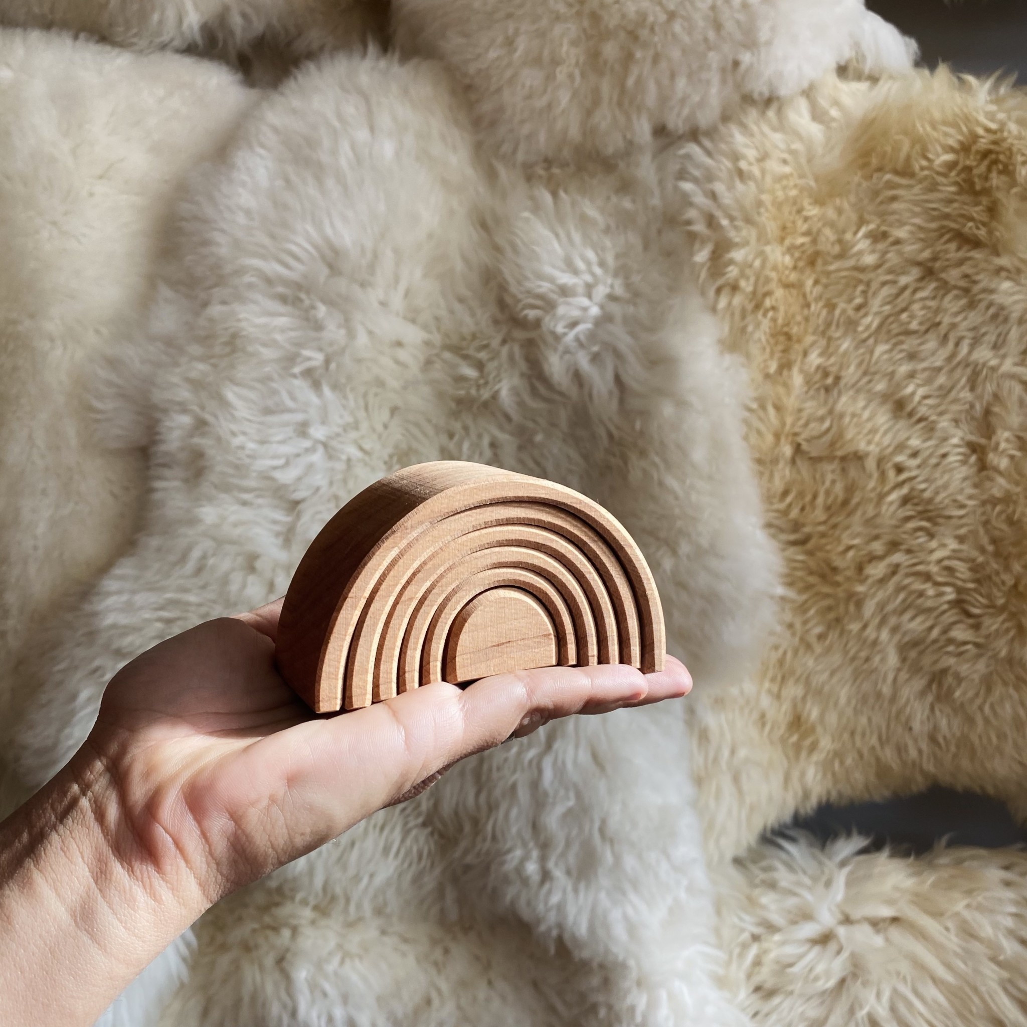 Grimm's Toys Wooden Tunnel - Natural - Small - 4""