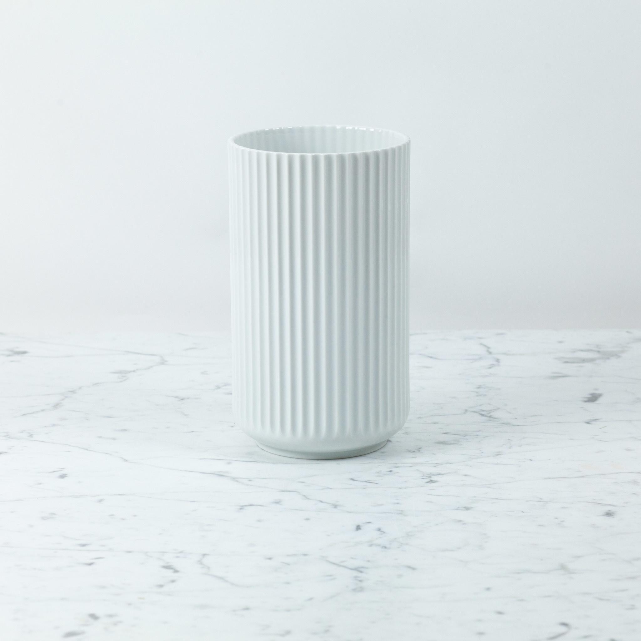 Lyngby Porcelain Lyngby Fluted Vase - 25 cm - Glossy White
