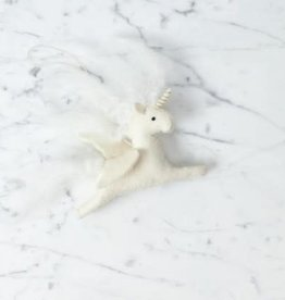 Hand Felted Enchanted Unicorn Ornament - White