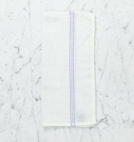 Light Striped Cotton Napkin - Blue + Salmon Pink