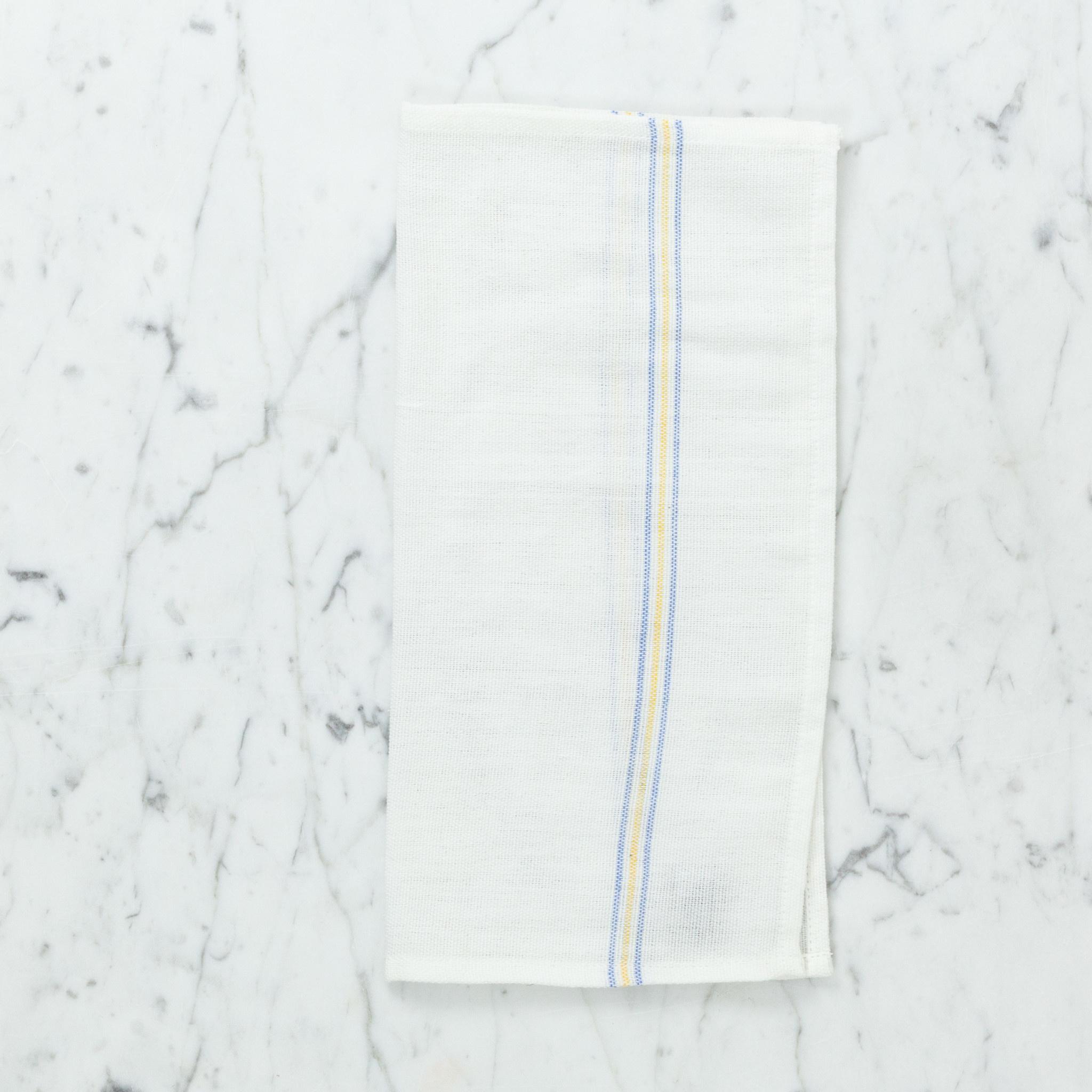 Light Striped Cotton Napkin - Blue + Yellow