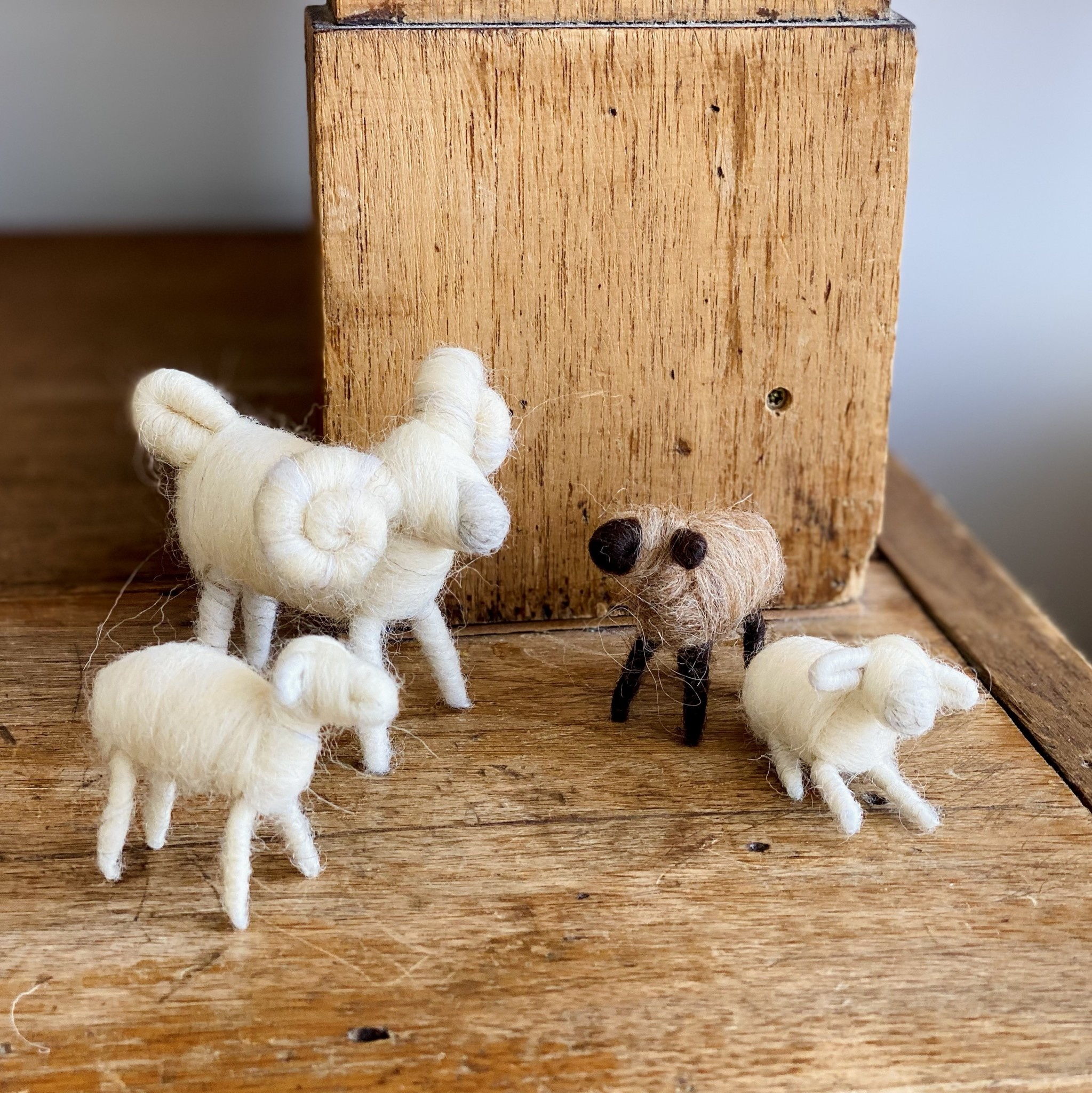 Natural Felted Wool Ram - White