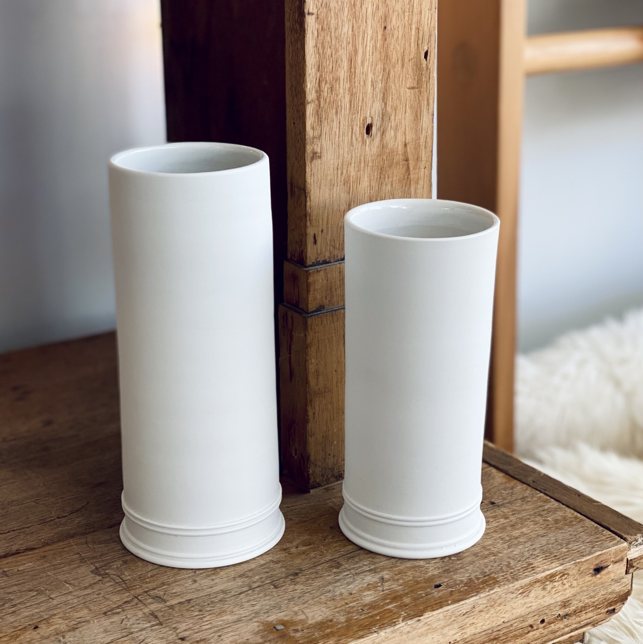 "John Julian John Julian Hand Thrown Vase - Small - Half Glaze - 7"""