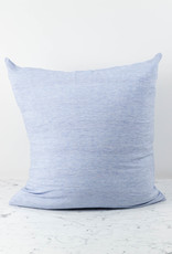 Washed French Linen Pillow Cover with Down Insert - Blue Thin Stripe - 26 x 26""