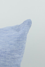 """Washed French Linen Pillow Cover with Down Insert - Blue Thin Stripe - 26 x 26"""""""