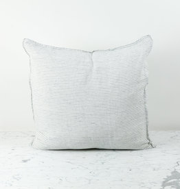 Washed French Linen Pillow Cover with Down Insert - White with Black Double Stripe - 26 x 26