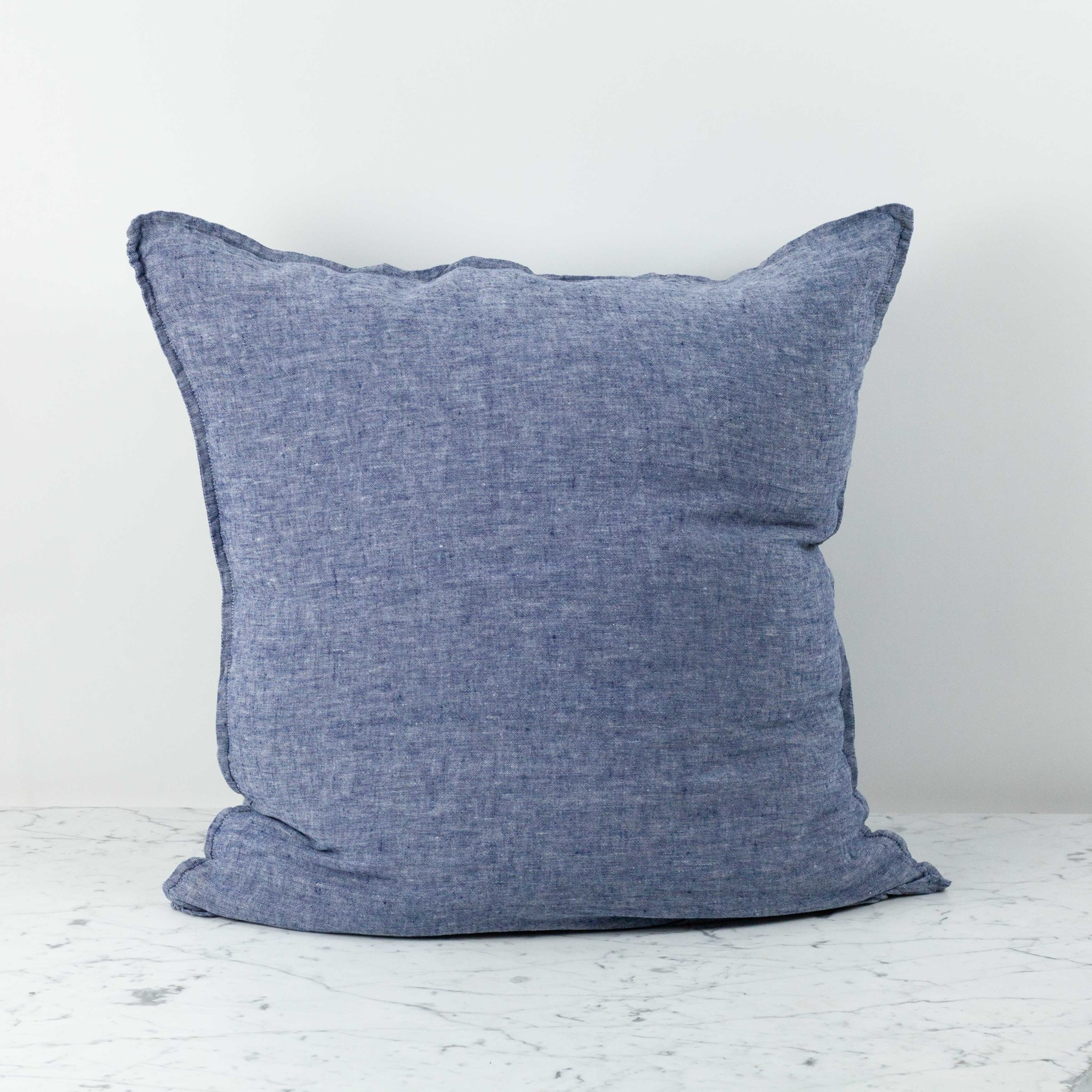 """Washed French Linen Pillow Cover with Down Insert - Blue Chambray - 26 x 26"""""""