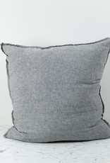 """Washed French Linen Pillow Cover with Down Insert - Grey Chambray - 26 x 26"""""""