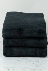Washed French Linen + Cotton Thermal Waffle Bath Towel - Black - 40 x 62""
