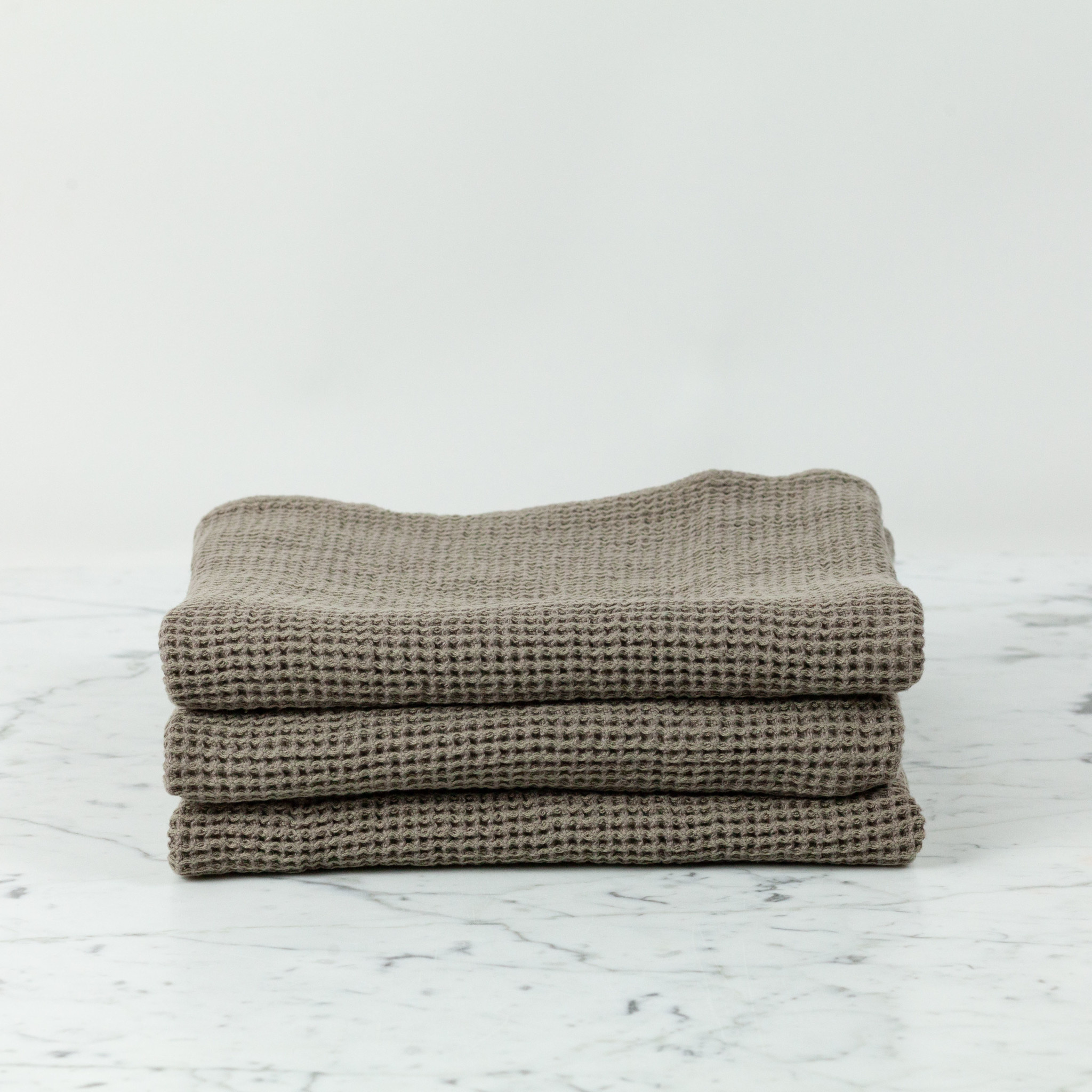 "Washed French Linen + Cotton Thermal Waffle Hand Towel - Mouse Back Grey - 32"" x 20"""